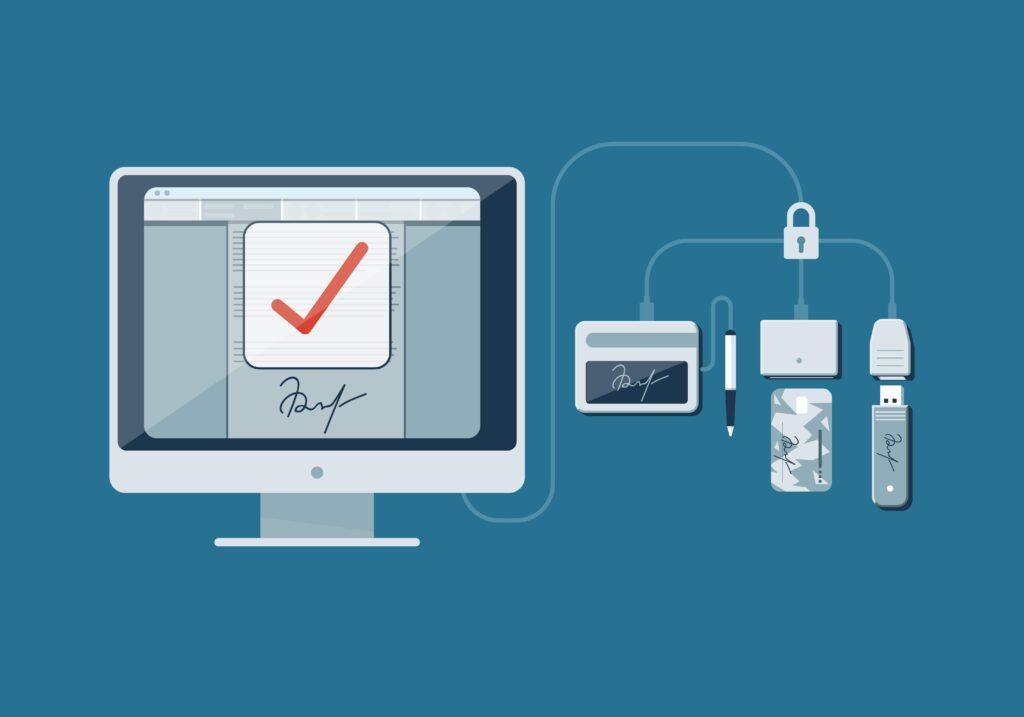 Zestaw podpisu elektronicznego może składać się z tokena usb, czytniku kart lub pcmcia.